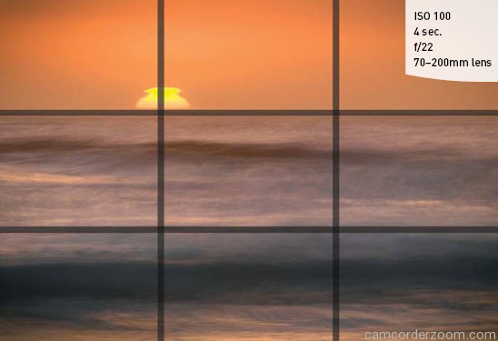 FIGURE 5.18 I photographed this sunset image so that the horizon fell directly on the top third-line of the frame and placed the sun so that it was on an intersecting point of the grid.